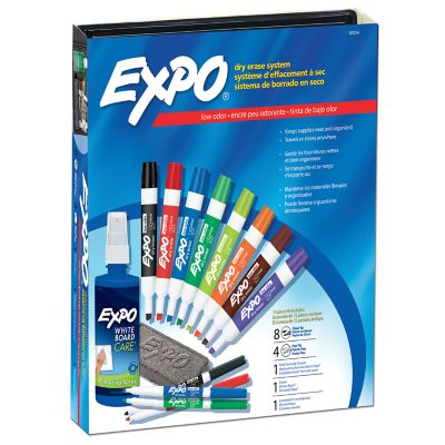 EXPO Low Odor Dry Erase Marker Kit Chisel Tip, with Eraser and Cleaning Spray