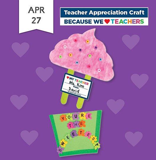 Join us Saturday April twenty-seventh to make a cupcake-themed teacher appreciation craft.