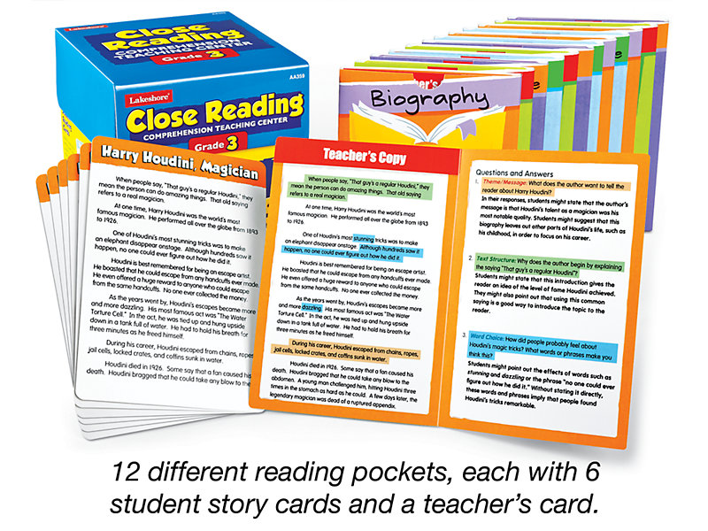 Close Reading Comprehension Teaching Center - Gr  3