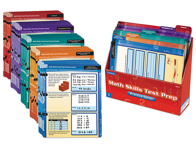 Math Skills Test Prep Practice Cards - Gr. 4 at Lakeshore Learning