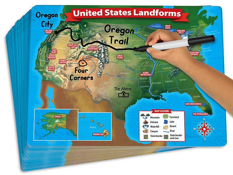 Write & Wipe Landform Maps - Set of 30