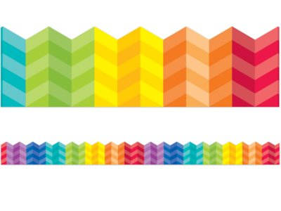 picture about Printable Bulletin Board Borders identified as Painted Palette Rainbow Chevron Border