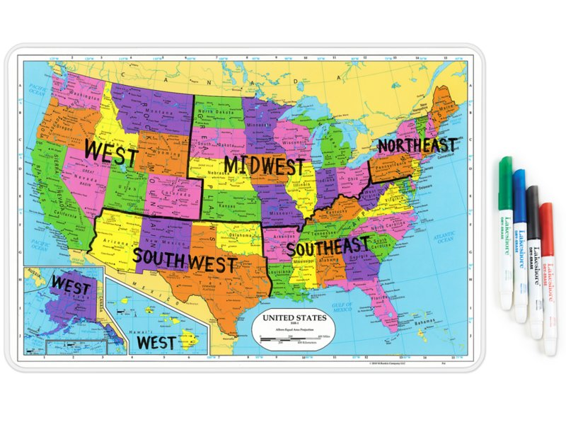 Write Wipe Usa Tabletop Map At Lakeshore Learning - Us-full-map