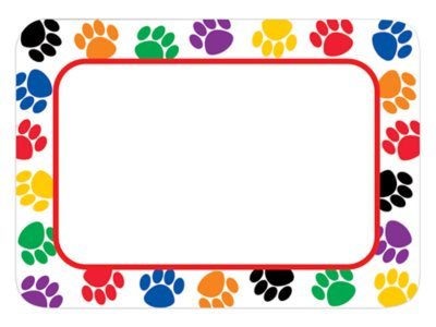 image relating to Printable Name Tags for Cubbies identified as Paw Print Status Tags