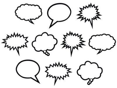 image relating to Printable Thought Bubbles named Superhero Speech Idea Bubble Accents