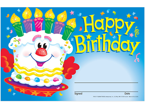 Cheerful Cake Birthday Certificates At Lakeshore Learning