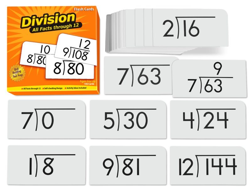 Division All Facts 0‑12 Flash Cards