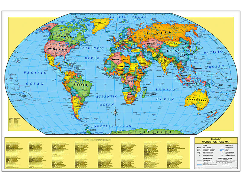 Whole Map Of The World.Write Wipe World Wall Map