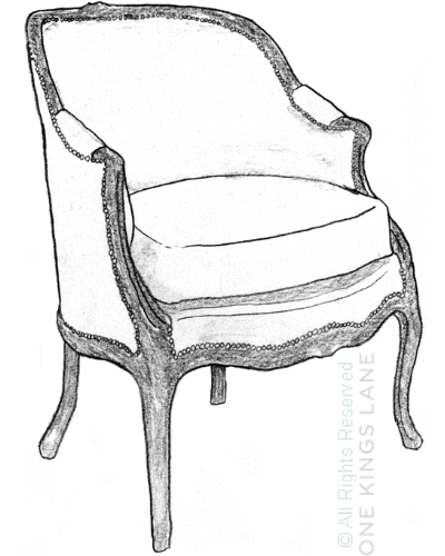 A Regence-style upholstered bergere.