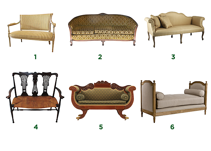 Types Of Couches: antique loveseat styles