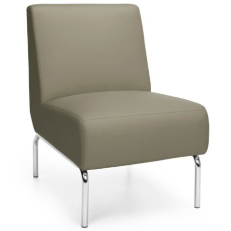 Superb Armless Guest Chair With Chrome Legs In Polyurethane Bralicious Painted Fabric Chair Ideas Braliciousco
