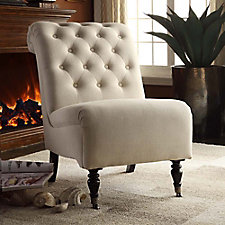 Cora Armless Tufted Chair with Front Casters in Fabric, CH51806