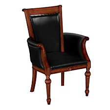 Black Leather Guest Chair with Arms, CH01714