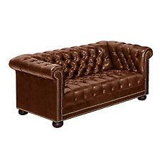 Chesterfield Traditional Leather Reception Room Loveseat, CH03453