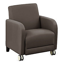 "Faux Leather or Patterned Fabric Guest Chair with Casters - 27""W, CH51537"