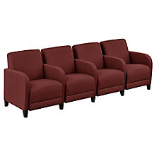 "Faux Leather or Patterned Fabric Four Seater with Center Arms - 99.5""W, CH51543"