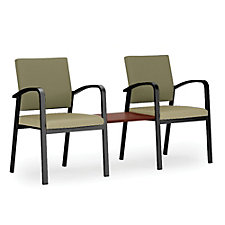 Newport Fabric and Vinyl Double Guest Chair with Center Table, CH51262