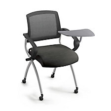 Mesh Back Polyurethane Nesting Chair with Tablet Arm and Oversized Casters, CH51999