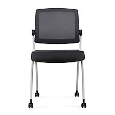 Armless Mesh Back Polyurethane Nesting Chair with Dual-Purpose Casters, CH51978