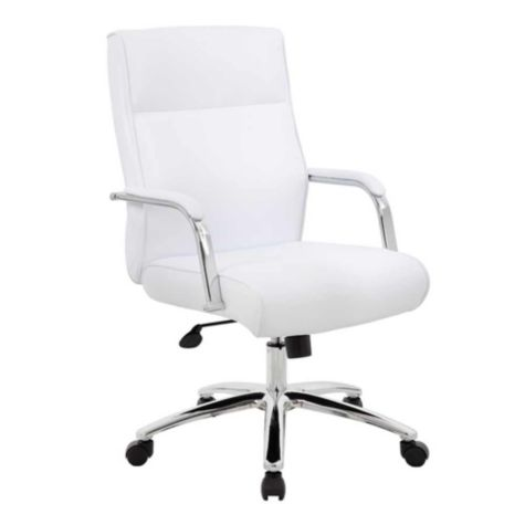 Faux Leather Task Chair With Chrome Frame