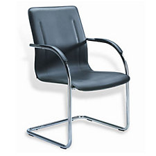 Black Vinyl Guest Chair with Chrome Frame, CH03412