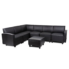 Tyler Faux Leather Six Seat L-Sofa with Ottoman, CH50699