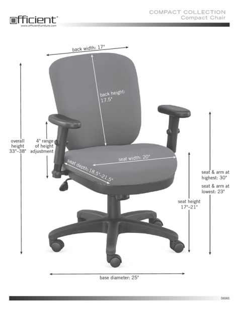 Petite Compact Low Height Ergonomic Chair In Fabric Officechairs Com