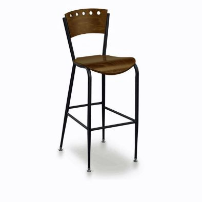 This Cafe Style Bar Stool Features A Stylish Wooden Seat And Back With An Iron Frame It Fits Easily Most Decor Types Is Easy To Clean