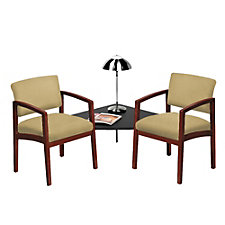 Lenox Two Chairs with Corner Connecting Table in Fabric, CH52314