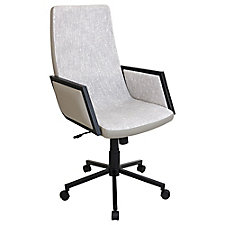 Governor High Back Fabric Chair with Faux Leather Trim, CH51764