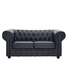 Chesterfield Bonded Leather Tufted Loveseat, CH50559