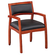 Expressions Half Back Faux Leather Wood Frame Chair, CH51581