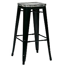 "Bristow Distressed Metal Barstool with Wood Seat - 30""H, CH51339"
