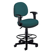 Low Back Fabric Drafting Stool with Arms, CH03544