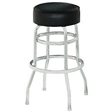 Backless Vinyl Barstool with Chrome Frame, CH51019