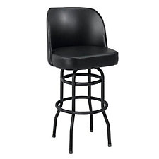 Large Bucket Backed Vinyl Barstool with Black Frame, CH51026