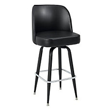 Bucket Backed Four Leg Vinyl Barstool with Black Frame, CH51028