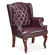 McKinley Faux Leather Wing Back Guest Chair, CH52385
