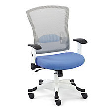 White Mesh Chair with Flip Arms and Memory Foam Seat, CH50860