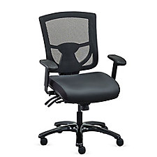 Overtime 24/7 Mesh-Back Chair with Leather Seat, CH52366