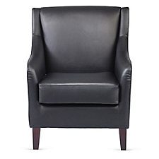 Faux Leather Wood Feet Club Chair, CH51181
