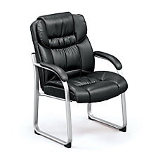 Faux Leather Guest Chair with Contrast Stitching, CH51578
