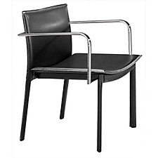 Black Guest Chair with Chrome Armrests, CH04640