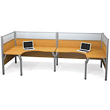 Pro Biz Back-to-Back Double L-Shaped Workstation with Plexiglass Panels, BES-100857B