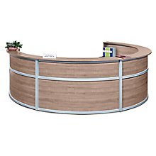 "Quad Laminate Curved Reception Desk - 142""W x 106""D, 8804971"
