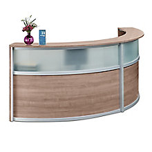 "Double Curved Reception Desk with Glass Panel - 123""W x 48""D, 8804962"