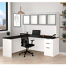 Pro Concept Plus Reversible L-Desk with Frosted Glass Hutch, 8827185