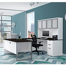 Pro Concept Plus U-Desk with Frosted Glass Door Hutch, 8827188