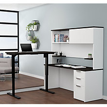 Pro Concept Plus Adjustable Height L-Desk with Hutch, 8827191
