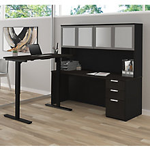 Height Adjustable L-Desk with Frosted Door Hutch, 8827192